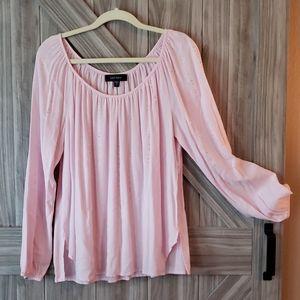 Karen Kane Pink Long Sleeve Top with Rhinestones